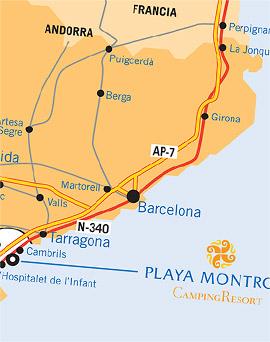 Carte Barcelone Cambrils.Camping Playa Montroig Resort Camping Costa Dorada